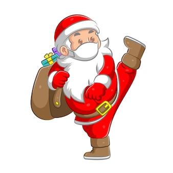 Ilustracja przedstawiająca świętego mikołaja wykonuje wysokie kopnięcie i przynosi worek pełen prezentu