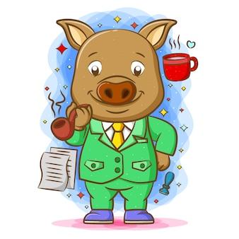 Ilustracja przedstawiająca świnię-bossa przedstawia zielony zestaw wokół jego ulubionych rzeczy