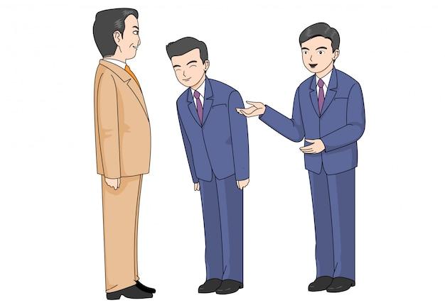 Ilustracja przedstawiająca trzech pracowników biurowych i powitanie.