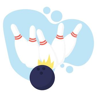 Ilustracja przedstawiająca trzy kręgle i kulę koncepcja kręgli
