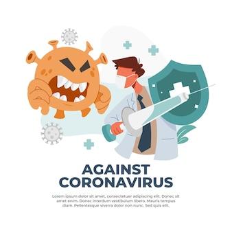 Ilustracja przedstawiająca walkę z pandemią covid-19 za pomocą szczepień