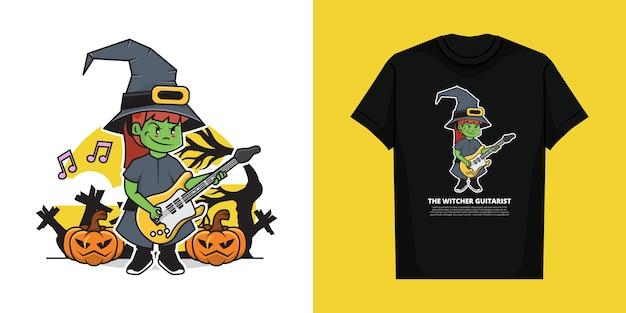 Ilustracja przedstawiająca wiedźmina grającego na gitarze w dzień halloween z koszulką