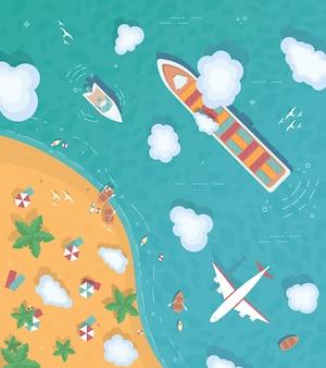 Ilustracja Przedstawiająca Wyspę Na środku Oceanu Premium Wektorów