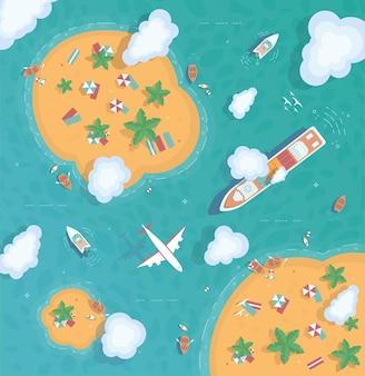 Ilustracja przedstawiająca wyspę na środku oceanu
