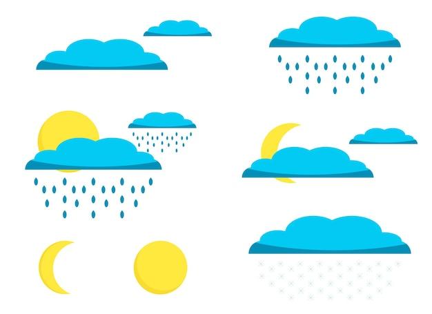 Ilustracja przedstawiająca zestaw na pogodę z wizerunkiem chmur, deszczu, słońca, księżyca, śniegu.