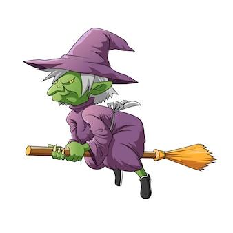 Ilustracja przedstawiająca zieloną wiedźmę elf w fioletowym kostiumie i używającą magicznej miotły do latania