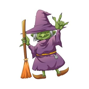 Ilustracja przedstawiająca zieloną wiedźmę elfa z długim gwoździem i używającą magicznej miotły w fioletowym kostiumie