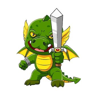 Ilustracja przedstawiająca zielonego smoka z małymi skrzydełkami stoi i trzyma miecz