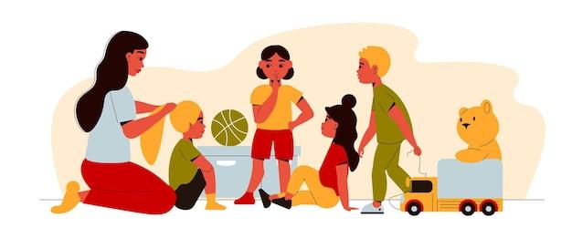 Ilustracja przedszkolna z nianią wiążącą włosy dziewczynek w warkocz z dziećmi i zabawkami