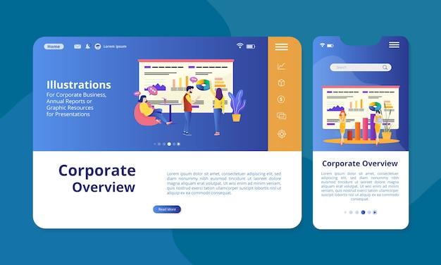 Ilustracja przeglądu korporacyjnego na ekranie do wyświetlania w internecie lub na urządzeniach mobilnych.