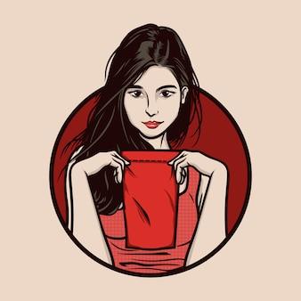 Ilustracja przekąska dziewczyna