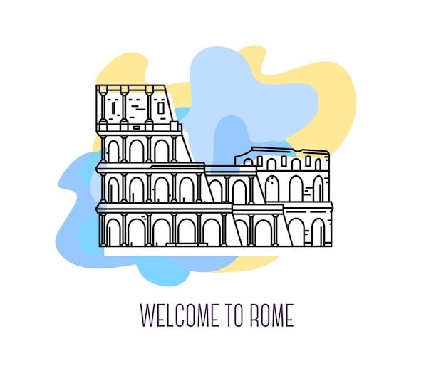 Ilustracja przełomowy koloseum rzym symbol włoch zwiedzanie europy