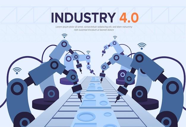 Ilustracja przemysłu 4.0 z ramionami robotów.
