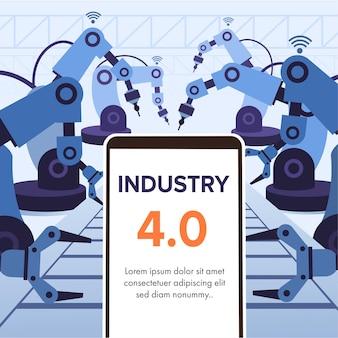 Ilustracja przemysłu 4.0 ze smartfonem i robotycznymi ramionami.