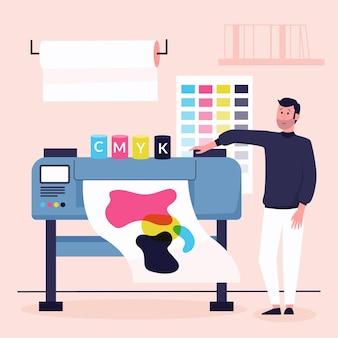 Ilustracja przemysłu druku płaskiego organicznego