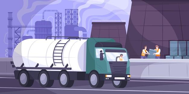 Ilustracja przemysłu naftowego z płaską ilustracją transportu ropy naftowej