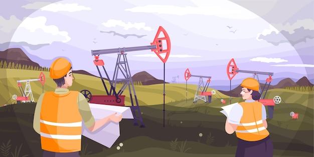 Ilustracja przemysłu naftowego z płaską ilustracją wydobywania ropy naftowej