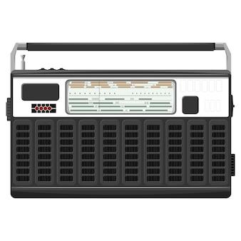 Ilustracja przenośnego radia w czarnej obudowie.