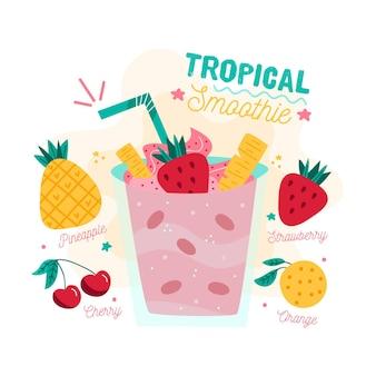 Ilustracja przepis tropikalny koktajl