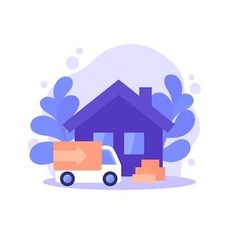 Ilustracja przeprowadzki, przeprowadzki, domu i furgonetki