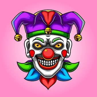 Ilustracja przerażający klaun jokera