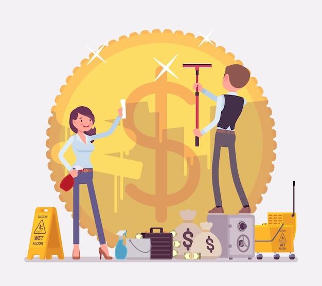 Ilustracja przestępstwa prania brudnych pieniędzy