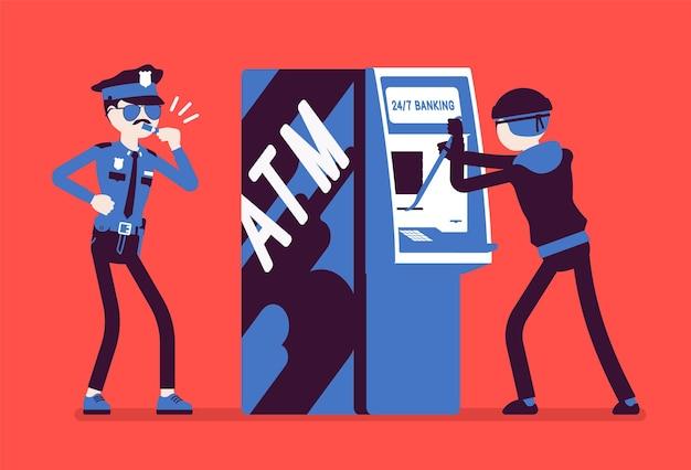 Ilustracja przestępstwa włamania do bankomatu