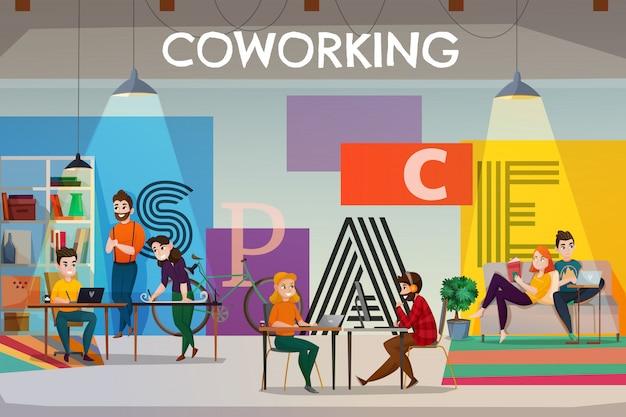 Ilustracja przestrzeń coworkingowa