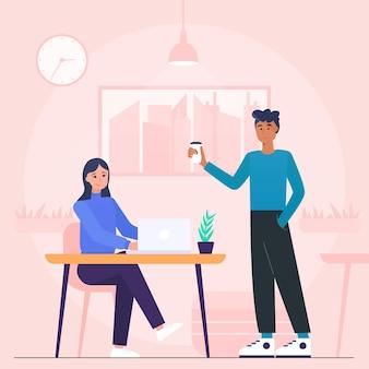 Ilustracja przestrzeni coworkingowej z ludźmi w biurze