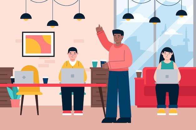 Ilustracja przestrzeni coworkingowej z ludźmi w pracy