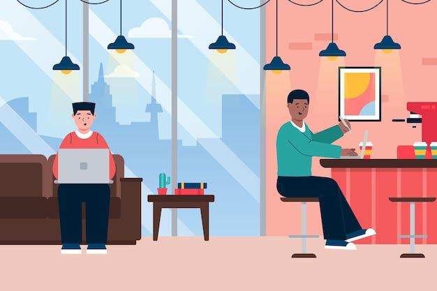 Ilustracja przestrzeni coworkingowej z osobami pracującymi razem