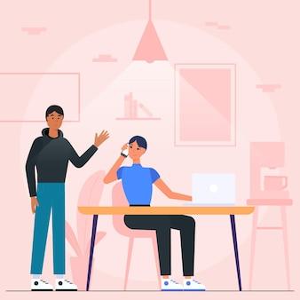 Ilustracja przestrzeni coworkingowej z osobami pracującymi