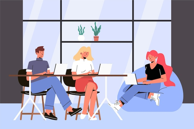 Ilustracja przestrzeni coworkingowej