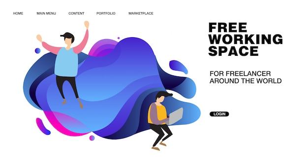 Ilustracja przestrzeni roboczej i projekt dla baneru