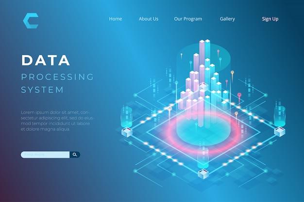 Ilustracja przetwarzania danych, koncepcje dużych danych, programowanie w stylu izometrycznym