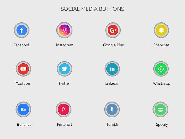Ilustracja przycisków aplikacji mediów społecznościowych