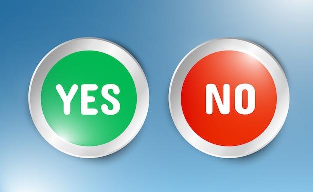 Ilustracja przycisków tak lub nie. ikony wyboru na przezroczystym tle.
