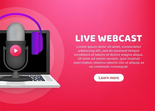 Ilustracja przycisku transmisji internetowej na żywo