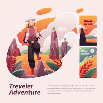 Ilustracja przygoda podróżnika