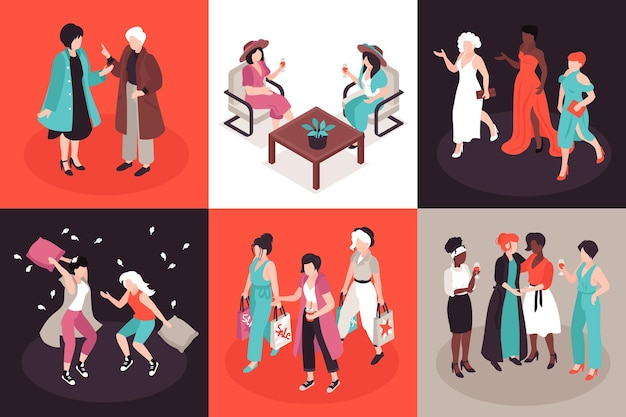 Ilustracja przyjaciół kobiet w widoku izometrycznym
