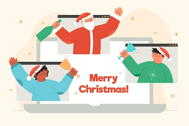 Ilustracja przyjaciół świętujących boże narodzenie online z powodu kwarantanny