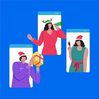 Ilustracja przyjaciół świętujących boże narodzenie w internecie z powodu pandemii