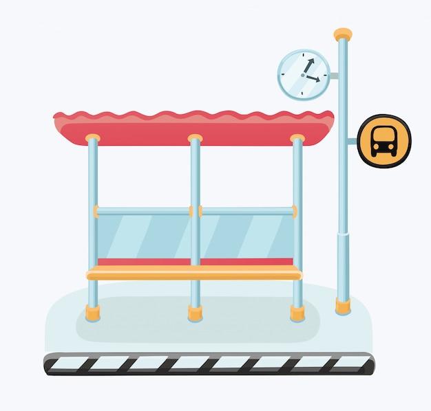 Ilustracja przystanku autobusowego z panoramą miasta i rzeką z łodzią w tle. styl.