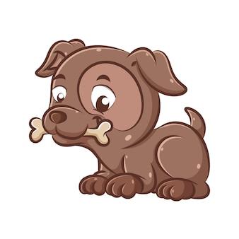 Ilustracja przystojnego i uroczego ciemnobrązowego psa siedzi i gryzie kości, aby się razem bawić