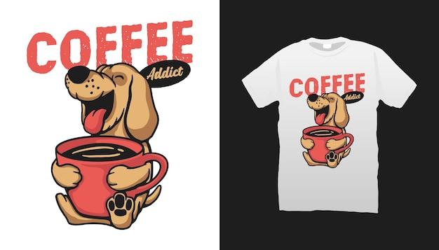 Ilustracja psa uzależnionego od kawy