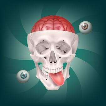 Ilustracja psychodelicznej szalonej czaszki z widocznym mózgiem