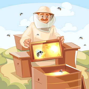 Ilustracja pszczelarz