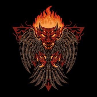 Ilustracja ptak demon