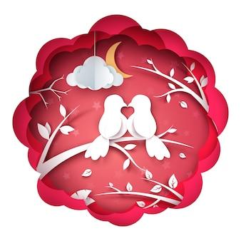 Ilustracja ptak i miłość