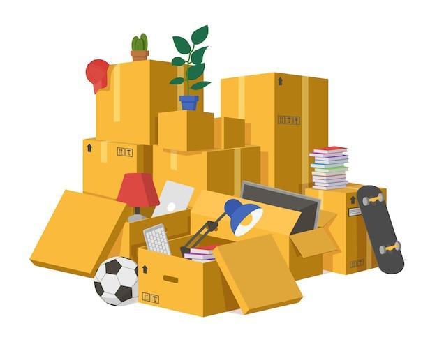 Ilustracja pudeł kartonowych